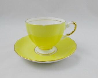 Tuscan Yellow Tea Cup and Saucer, Vintage Bone China