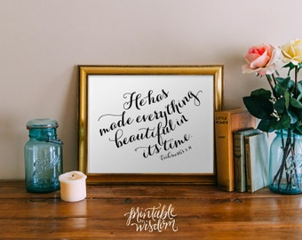 Bible Verse wall art, printable Scripture Print Christian wall decor poster, inspirational quote typography - Ecclesiastes 3:11 - digital