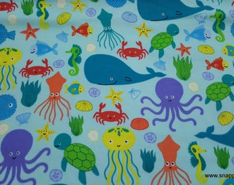 Flannel Fabric - Bright Sea Friends - By the yard - 100% Cotton Flannel