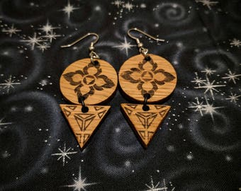 Lotus Petals of Fire and Water Tiered Earrings in Oak