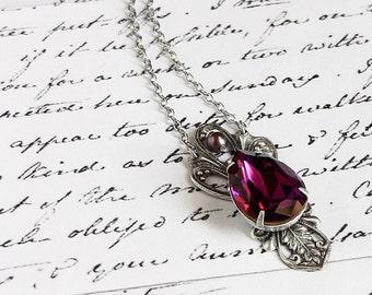 Victorian jewelry Purple victorian necklace Purple swarovski crystal pendant necklace Silver Pendant Romantic gothic jewelry