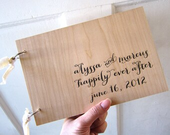 "Calligraphy Style Wedding Wood Guest book (9"" x 6"") - Happily Ever After - Custom Names and Date"