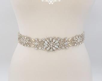 All around belt, Bridal belt, rhinestone belt, wedding belt, bridal sash, wedding dress belt, bridal sash belt, beaded bridal sash, LAURA
