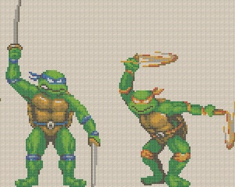 Teenage Mutant Ninja Turtles Cross Stitch Pattern