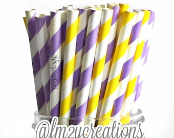 PAPER STRAWS, 50 Lavender Purple and Yellow Paper Straws, Stripe Purple Straws, Yellow Paper Straws,Cake Pops, Purple baby shower, DIY Flags