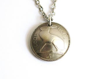 Rabbit Necklace, Domed Coin, 3 Pence, Ireland, Irish Hare, Harp, Vintage Jewelry by Hendywood