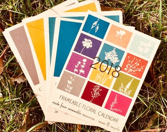 2018 Recycled Paper Floral Silhouette Calendars - REFILLS