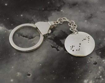 Silver Scorpio keyring: The constellation of Scorpio on a textured sterling silver keychain