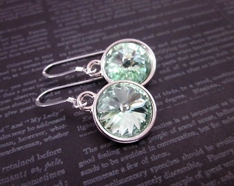 Mint Dangles -- Mint Green & Silver Earrings -- Mint Green Crystal Earrings -- Soft Green Dangles -- Chrysolite Crystal Earrings --12mm Mint