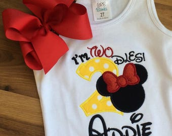 Red yellow black mouse bow Personalized Boutique Number Birthday two 2nd flutter Girls Applique Short Long Sleeve Shirt Tank icing shorts