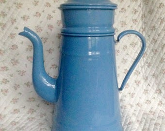 Vintage French enamel coffee pot