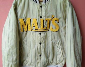 Vintage MALT'S BEAR Reversible Varsity Jacket Rare