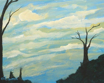 cloud painting, original acrylic painting on paper, Cloudy Ridge
