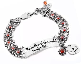 Bar bracelet with personalized engraving, crystal choice, in stainless steel