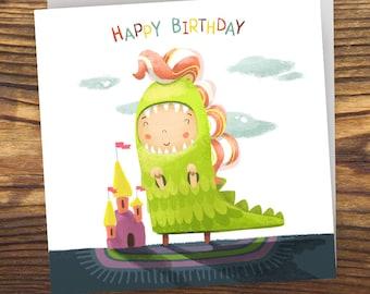 Dinosaur Happy Birthday Girl. Digital. Instant download.