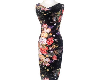 Isabelle Argentine tango dress, midi dress. Wedding guest dress with open back. Low back ballroom dance dress with back slit. Dancewear.