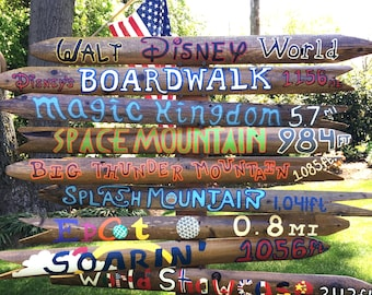 """Set of 5- """"Theme"""" Customized Mileage Signs (Wood)"""