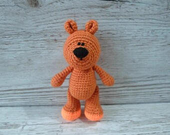 Orange Teddy Bear, Tiny Teddy, Orange Bear, Crochet Teddy, Handmade Bear, Baby Gift, Birthday, Christmas, Halloween