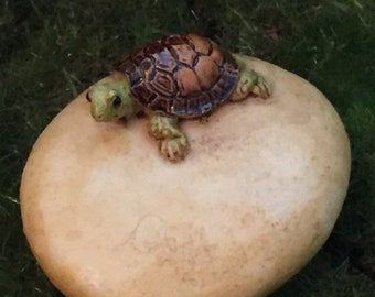 SALE Mini Turtle on Stone, Tortoise on Rock, Fairy Garden Accessory, Miniature Gardening, Home & Garden Decor, Topper, Shelf Sitter, Figurin