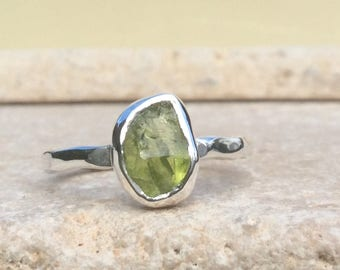 Raw Peridot Silver Ring, US 6.75, Raw Stone Ring, Peridot Ring, Rough Gemstone Ring, Natural Gemstone Silver Ring, August Birthstone Ring