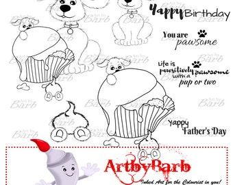 Pawfectly Playful, line art, clipart, digital stamp, to craft, to colour, to create, to scrapbook, add wordart