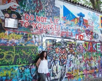 The writing on the wall. John Lennon wall, Prague, Czech Republic