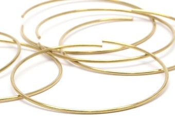 Brass Wire Hoop -12 Raw Brass Wire Hoops (50x1.2mm) Bs 1232