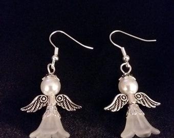 Set of White Guardian Angel Earrings  Angel Charm Earring Drop Dangle Jewelry French Hook Style Ear Wires Golden