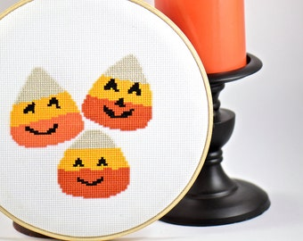 Halloween Decoration. Wall Art. Modern Cross Stitch. DIY. Candy Corn. Trick or Treat. Digital Download. Craft Supplies. October. Crafts