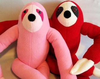 Stuffed sloth toy, sloth toy, sloth plush, sloth doll, stuffed sloth, sloth plush toy, jungle toy, sloth stuffed toy, pink sloth, red sloth