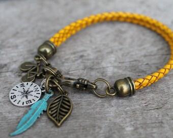 Adventure Charm Bracelet, Mustard Braided Leather, Travel