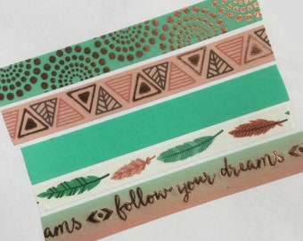 Tribal Washi Tape, Boho Planner Tape, Feather Tape, Follow Your Dreams, Teal Washi Tape, Rose Gold Tape, Native American, Washi Tape Sample
