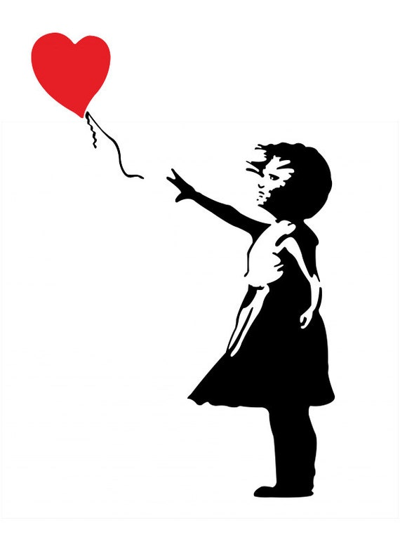 banksy girl with heart balloon car decal sticker free usa