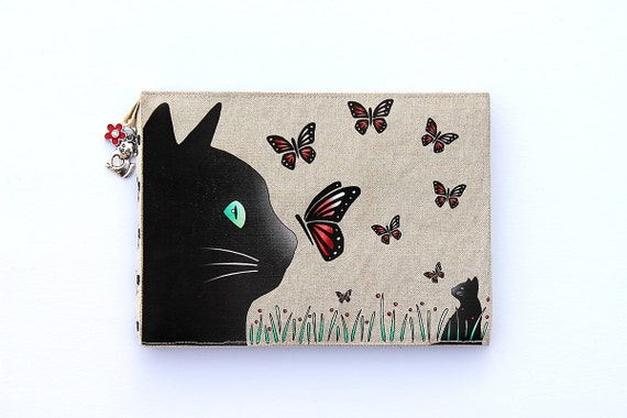 "Dressed up ""Cat and butterflies"" linen photo album"