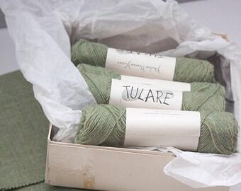 Pauline Denham Yarns, Tulare, Placid Green With Coordinating Wool Fabric, Wool Yarn Sage