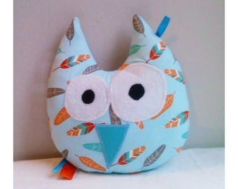 Decoration / toy OWL feather sky blue