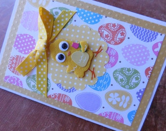 Easter Greeting Card with felt yellow chick or peeps Happy Easter