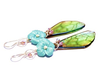 Faerie butterfly earrings, green butterfly wing earrings, butterfly earrings, fairy earrings, enchanted wing earrings, jewelry gift for her