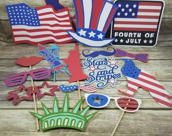 4th of July Photo Booth Props - Photo Booth Props - 4th of July Party - 4th of July Decorations - Summer Party - Summer 2018