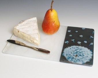 Dandelion Fused Glass Cheese Platter, Dandelion, Nature, Glass, Cheese Platter