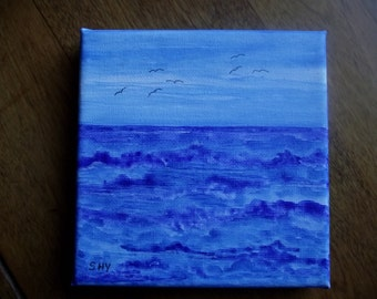 Choppy Waters , Small Watercolor Painting.