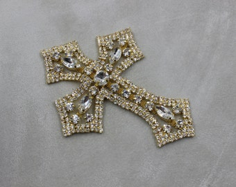 Gold cross trim, Bridal Applique, gold cross, Rhinestone trim, rhinestone applique, crystal sash, bridal sash, headband wedding headpiece