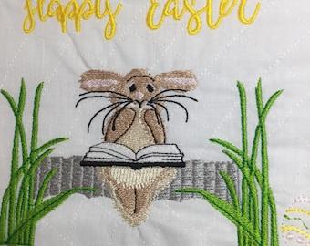 Bunny  Reader Embroidery Design