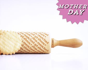 MOTHER'S DAY - ' made by best mom ever ' - embossing rolling pin, laser engraved rolling pin. <3