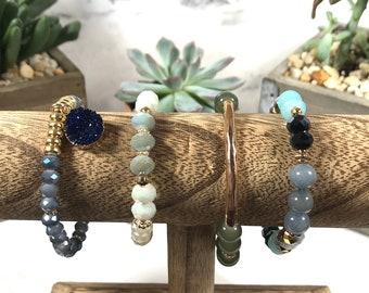 Stackable Bracelets + Erimish Inspired + Stacks + Marble + Bridesmaid Gifts + Druzy + Stretchy + Bracelet + Boho + Boho Jewelry + Stacks