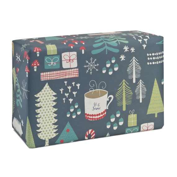 GREEN CHRISTMAS. Christmas wrapping paper. Dark green background. Trees and mushroooms pattern. Christmas wood