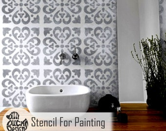 TANGIER TILE STENCIL - Mediterranean Spanish Moroccan Wall Furniture Craft Floor Stencil for Painting - TANG01