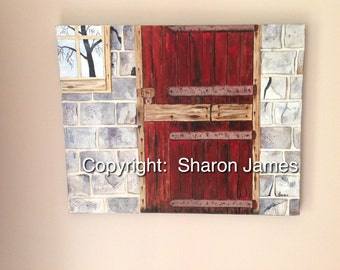 "Old Red Door, 16x20"" original acrylic painting by artist, Sharon James"