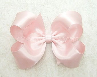 Ice Pink Satin Hair Bow, 58 colors, 4 inch Satin Bow for Flower Girls, Pale Pink Bow Bridesmaids Weddings Special Occasions Palest Pink