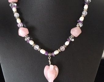 ROSEQUARTZ ANGEL MAGIC 66.5cm long crystal necklace